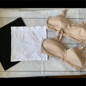 2 nursing bras and 2 maternity bands